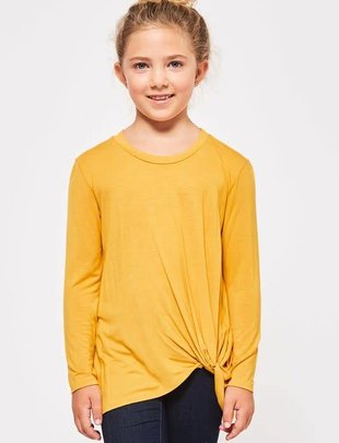 Girls Solid L/S Knot Top