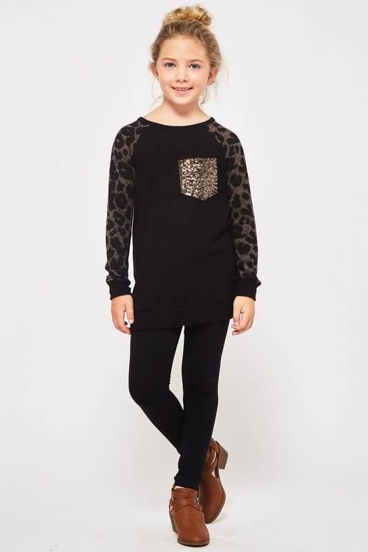 Girls Black Leopard Gold Sequin Pocket Shirt