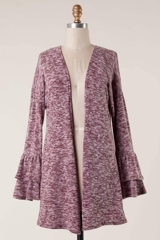 Heathered Wine Bell Sleeve Cardigan