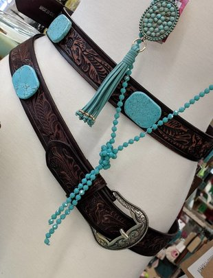 Dk. Brown Floral Tooled Turq. Stone Belt