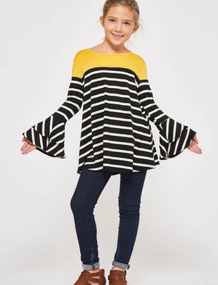 Girls Stripe Bell Sleeve Top