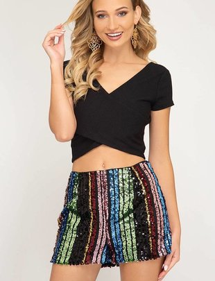 Multi Color Sequin Shorts