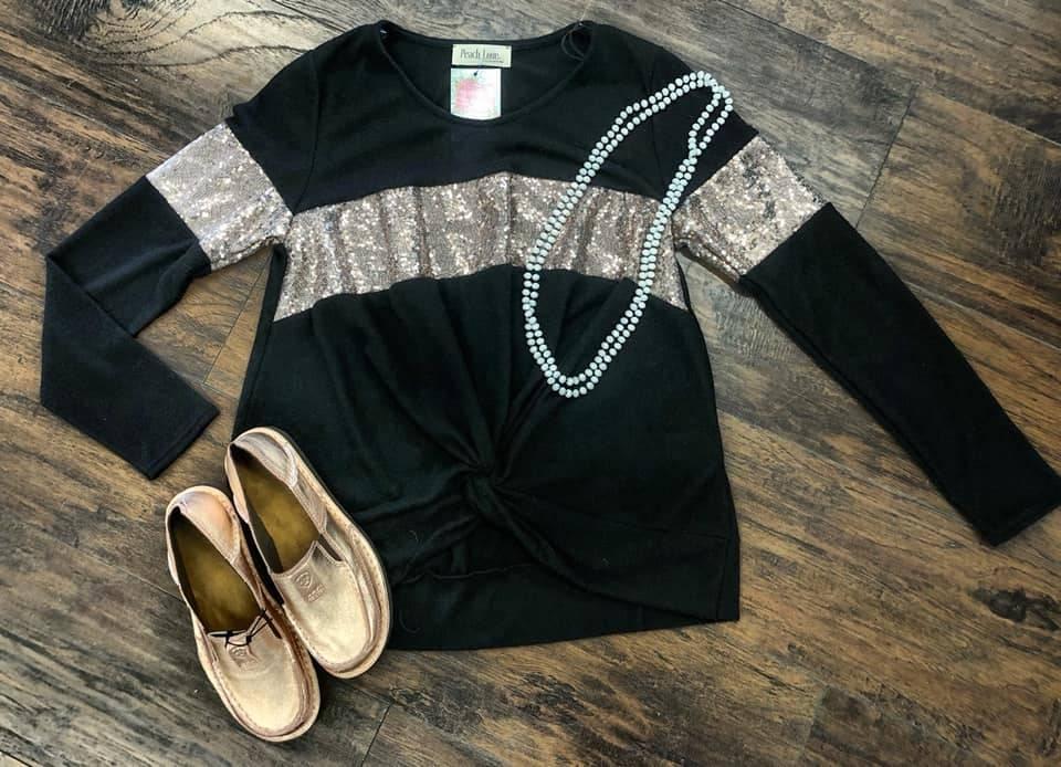 Black Front Tie Glitter Accent Shirt