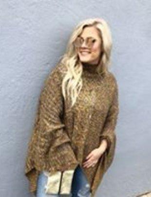 Vintage Wool Brown Poncho Sweater
