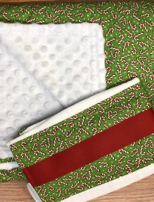 Red Candy Cane w/ Green Background Burp Pad