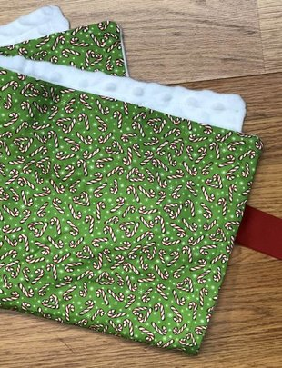 Red Candy Can Green Background White Minky Binky Blanket