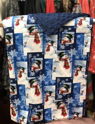 Snow Man w/Scarf, White Snow Patchwork w/Blue Minkie Youth Blanket
