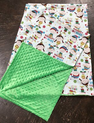 Naughty or Nice/Green Minkie Youth Blanket