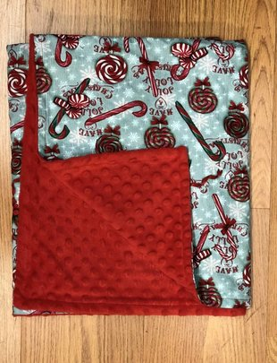 Candy Canes w/Lollipops White Star Red Minkie Baby Blanket