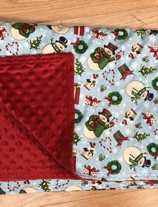 Snowman & Candy Canes w/ Red Minkie Youth Blanket