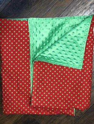 Green Dots & Baackground w/Green Minkie Baby Blanket