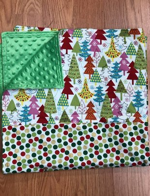 Xmas Trees-Gold,Red,Green W/Green Minkie Baby Blanket