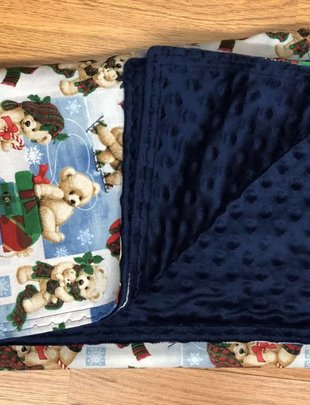 Bears w/ Gifts w/ Blue Minkie Baby Blanket