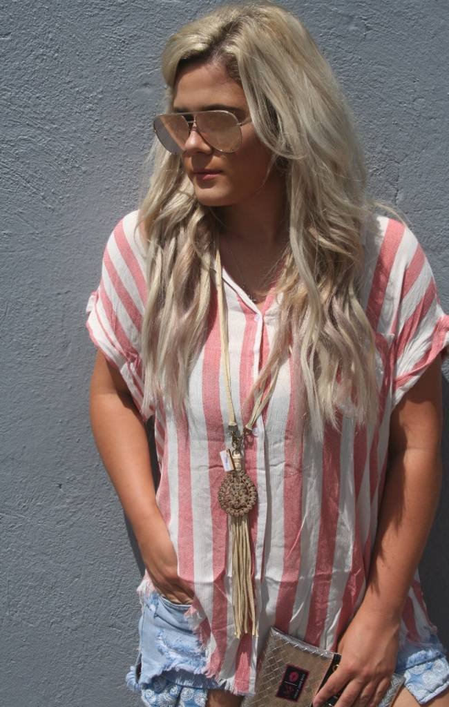 Plus Size Striped Button Up Carrot Top