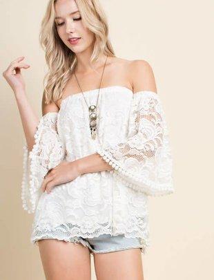 Blushing Heart White Lace Off Shoulder Pom Pom Hem Shirt