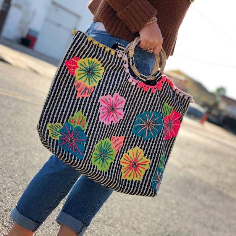 AMERICA & BEYOND Fanciful Floral Stripe Tote