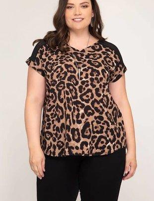 Ladies Plus Size Leopard Mesh Back Top