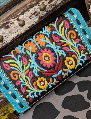 Bright Color Black Wallet