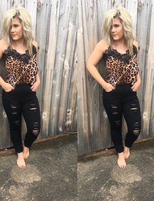 Lace Leopard Silk Cami