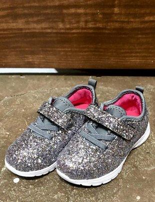 Girls Grey Glitter Tennie Shoes