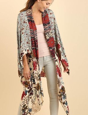 Plus Size Log Body Floral Kimono