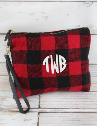 RED AND BLACK BUFFALO CHECK WRISTLET CLUTCH