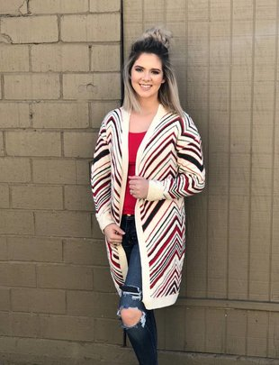 Fashion Apparel & Accessories Red/Green Soft Cardigan