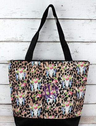 FREE SPIRIT STEER LEOPARD WITH BLACK TRIM TOTE BAG