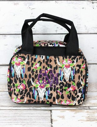 FREE SPIRIT STEER LEOPARD INSULATED BOWLER STYLE LUNCH BAG
