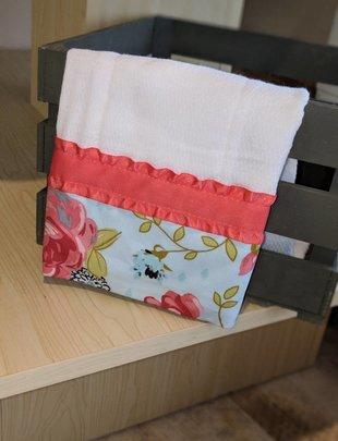 Peach Ribbon w/Flowers Burp Pad