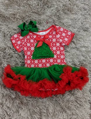 Girls Christmas Tree TuTu Dress