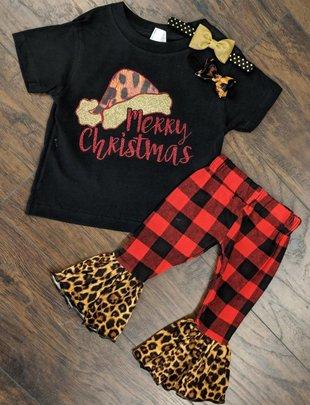 Girls Leopard Santa Hat Black Tee