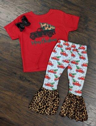 Kids Black/Leopard Truck Red Tee