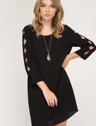 Little Black Dress Scalloped Sleeves