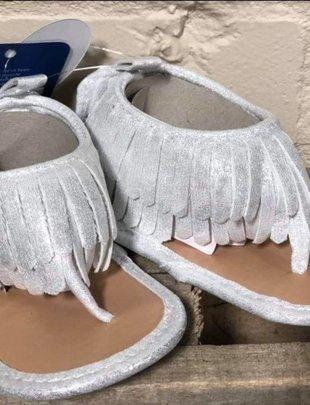 Girls Silver Flat Fringe Sandal