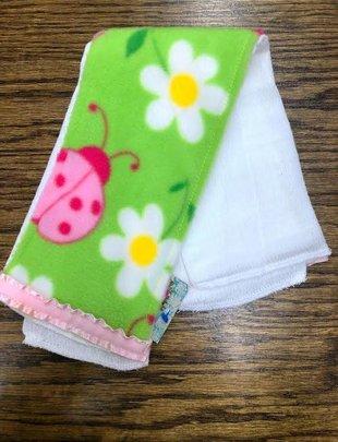 Lady Bug Lime Green/Pink Burp Pad