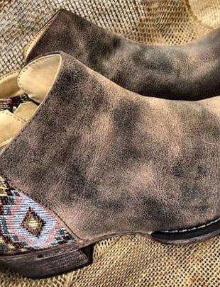 Serape Heel Brown Bootie