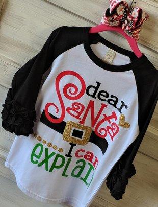 Back Road Beauties Kids Dear Santa Belt Black Ruffle Sleeve