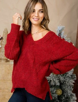 Ruby Red Diamond Shape High Low Knit Sweater