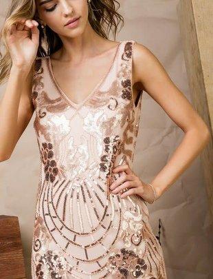 Sequin Mesh V Neck Fringe Dress