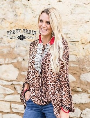 Knot for Long Leopard Bell Sleeve Top