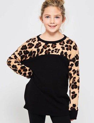 Kids Black Leopard Sweatshirt