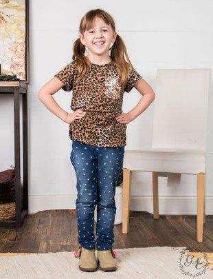 Girl's Night In Short Sleeve Leopard Tee
