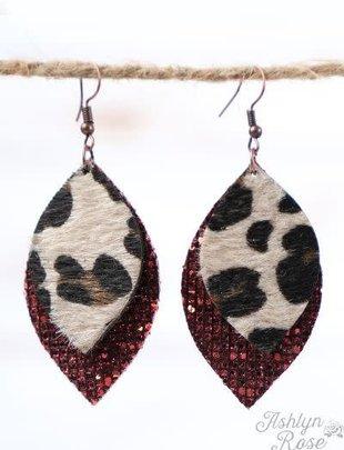 Red Glitter Leather Leopard Leaf Earrings, Copper