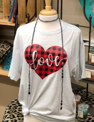 Back Road Beauties Love In A Plaid Heart Tee
