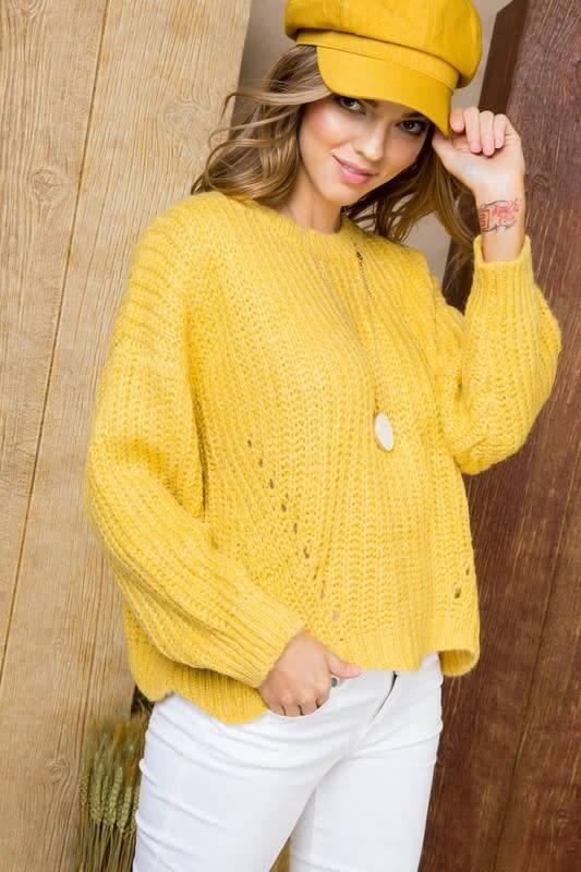 Yellow Scallop Hem Sweater