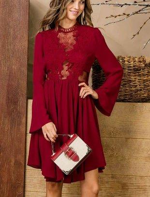Burgundy Lace Top Dress