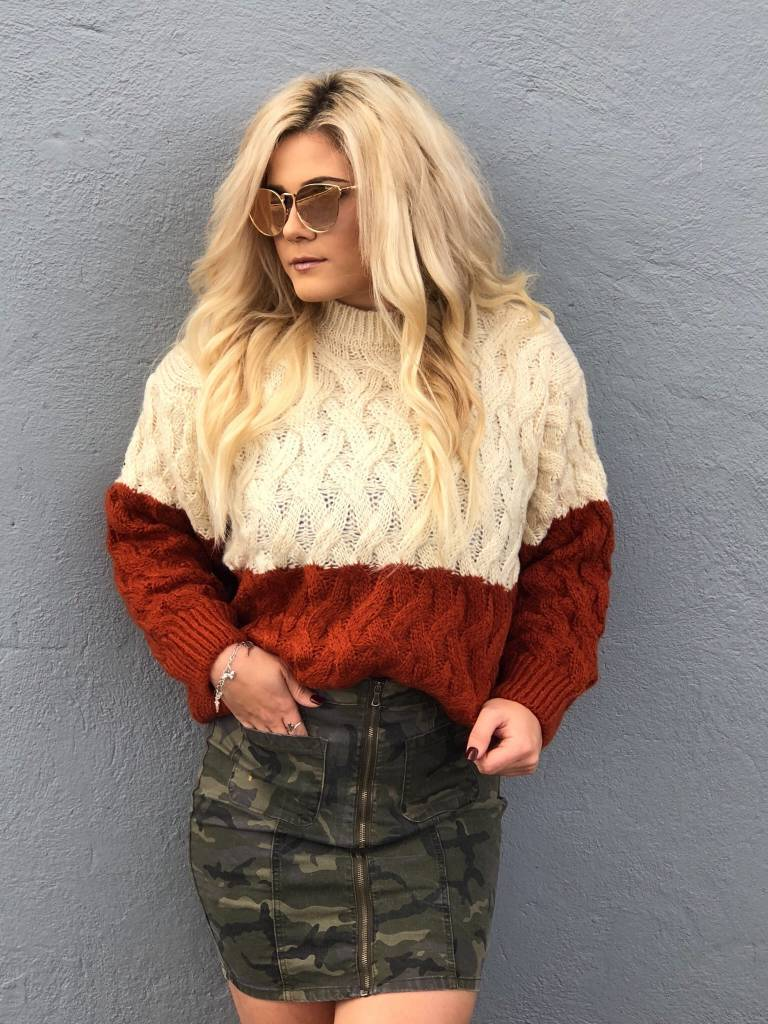 Rust/Cream Color Block Sweater