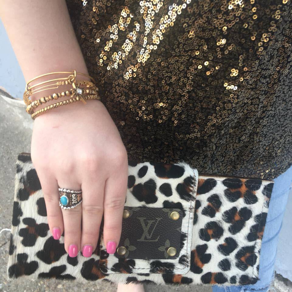 Keep It Gypsy Cream Leopard LV Patch Wallet