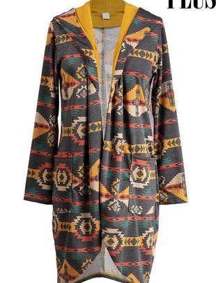 Ladies Plus Size Aztec Hooded Cardigan